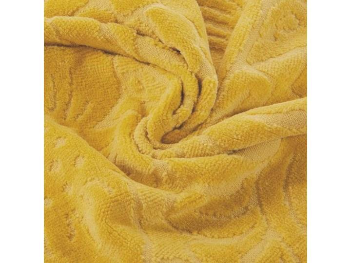 Welurowy ręcznik kąpielowy 70x140 musztardowy 390 g/m2 elegancki zdobiony na całej powierzchni żakardowym wzorem kwiatowym Frotte 70x140 cm Bawełna Kategoria Ręczniki