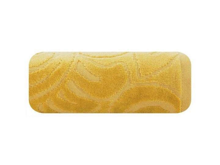Welurowy ręcznik kąpielowy 70x140 musztardowy 390 g/m2 elegancki zdobiony na całej powierzchni żakardowym wzorem kwiatowym Bawełna 70x140 cm Frotte Kategoria Ręczniki