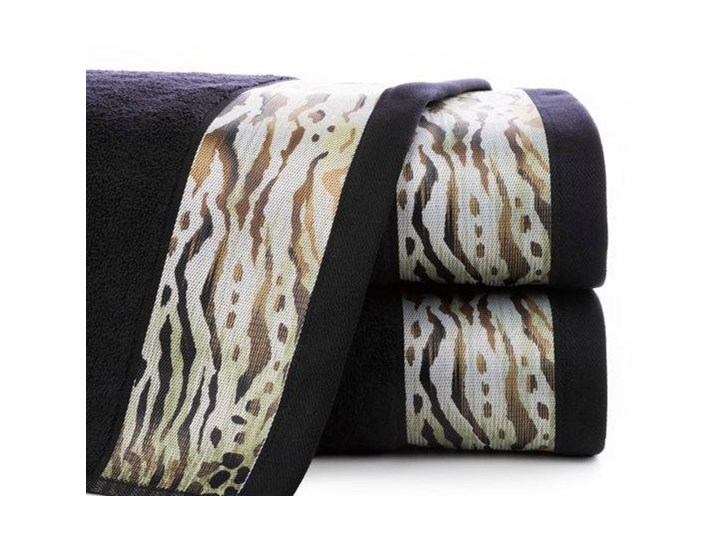 Ręcznik Eva Minge Cecil czarny w rozmiarze 50x90 z drukowaną bordiurą Ręcznik kąpielowy Bawełna 50x90 cm Kategoria Ręczniki