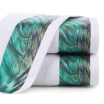 Ręcznik Eva Minge Collin biały w rozmiarze 70x140 z drukowaną bordiurą