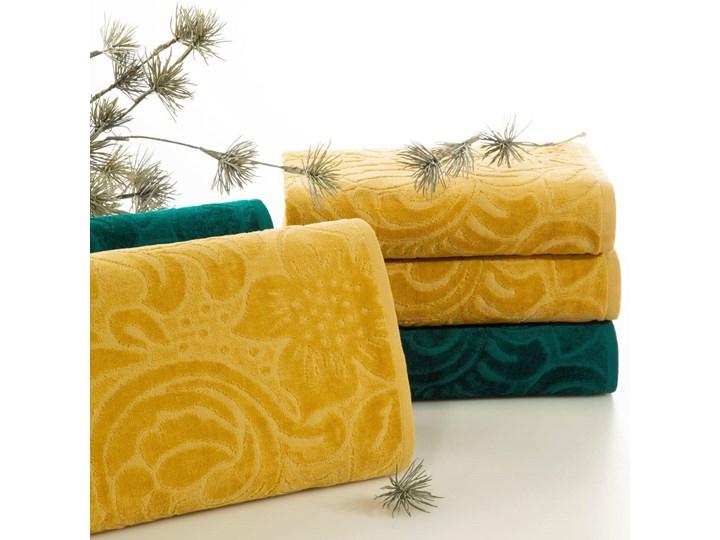 Welurowy ręcznik kąpielowy 50x90 musztardowy 390 g/m2 elegancki zdobiony na całej powierzchni żakardowym wzorem kwiatowym Frotte Bawełna 50x90 cm Kategoria Ręczniki