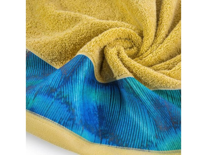 Ręcznik Eva Minge Camila musztardowy w rozmiarze 70x140 z drukowaną bordiurą Bawełna Ręcznik kąpielowy 70x140 cm Kategoria Ręczniki