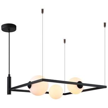 LAMPA wisząca GARETH MDM-3975/3 BK Italux metalowa OPRAWA ramka ZWIS szklane kule balls czarna