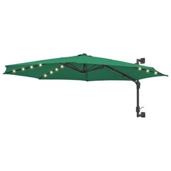 vidaXL Parasol ścienny z LED, na metalowym słupku, 300 cm, zielony
