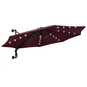 vidaXL Parasol ścienny z LED, na metalowym słupku, 300 cm, burgund