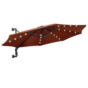 vidaXL Parasol ścienny z LED, na metalowym słupku, 300 cm, terakota