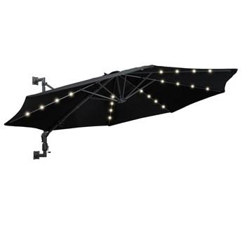 vidaXL Parasol ścienny z LED, na metalowym słupku, 300 cm, czarny