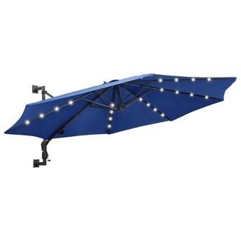 vidaXL Parasol ścienny z LED, na metalowym słupku, 300 cm, niebieski