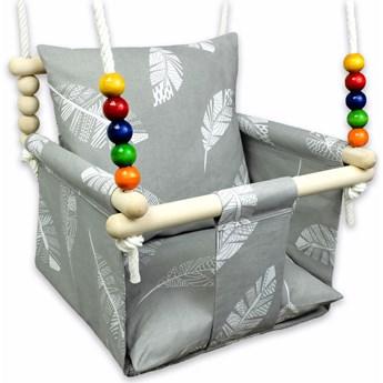 Szara huśtawka kubełkowa dla dzieci w piórka - Wixa