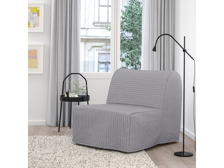 IKEA LYCKSELE LÖVÅS Fotel rozkładany, Knisa jasnoszary, Szerokość: 80 cm Bawełna Wysokość 87 cm Tkanina Głębokość 100 cm Tworzywo sztuczne Kategoria Fotele do salonu