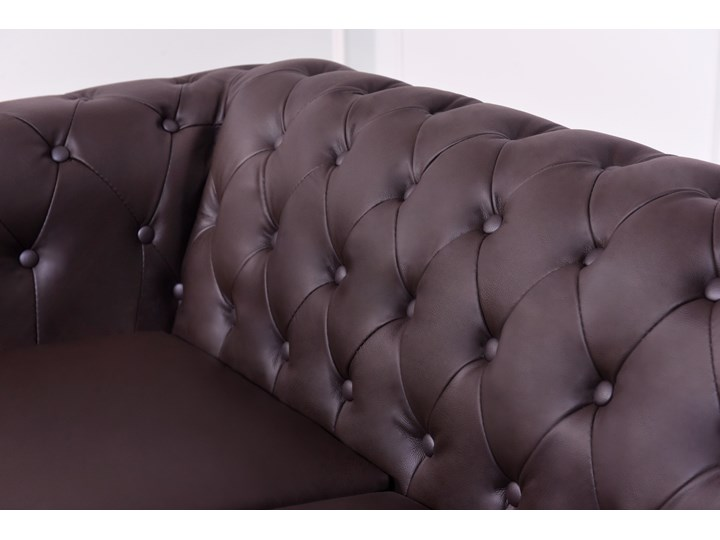 2 osobowa sofa Chester Lux, brązowa, skóra Szerokość 163 cm Chesterfield Głębokość 85 cm Wielkość Dwuosobowa
