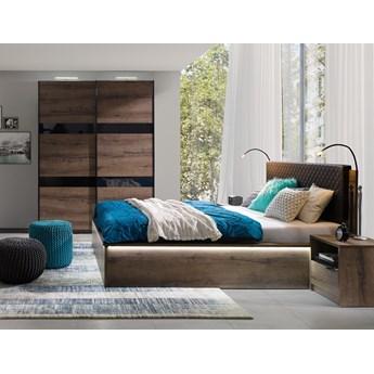 Sypialnia DENVER : Dodaj oświetlenie: - Oświetlenie LED, Dodatki - cichy domyk do szafy, Wybierz kolor - dąb monastery + czarny połysk