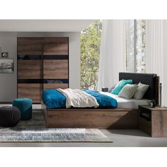 Sypialnia DENVER : Dodaj oświetlenie: - ---, Dodatki - cichy domyk do szafy, Wybierz kolor - dąb monastery + czarny połysk