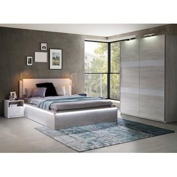 Sypialnia DENVER : Dodaj oświetlenie: - Oświetlenie LED, Dodatki - cichy domyk do szafy, Wybierz kolor - dąb biały + biały połysk