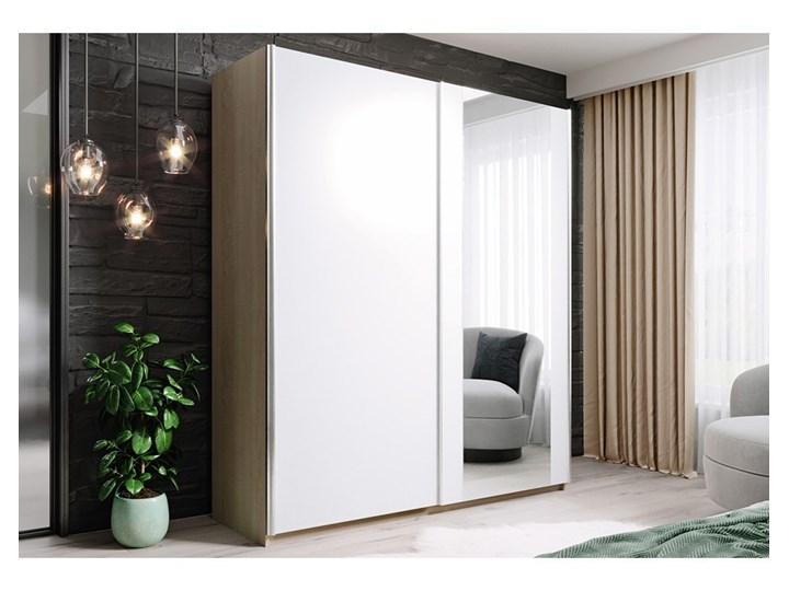 Szafa HIT 150 : Dodaj półki: ---, Wybierz kolor frontu: - biały/lustro, Wybierz kolor korpusu: - d ...