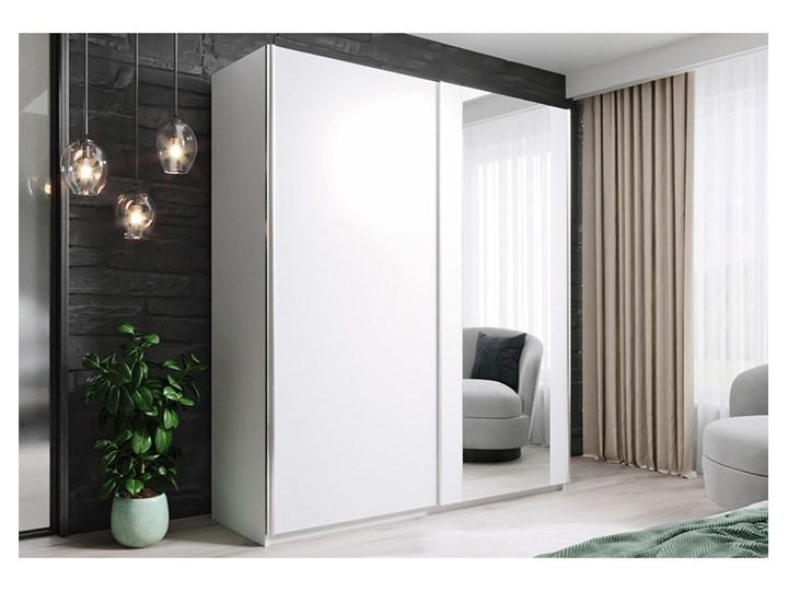 Szafa HIT 150 : Dodaj półki: - ---, Wybierz kolor frontu: - biały/lustro, Wybierz kolor korpusu: - Biały Drewno Lustro