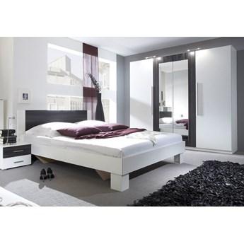 Sypialnia VERA II : Powierzchnia spania łóżka - 160x200cm, Wybierz kolor - Biały + czarny orzech