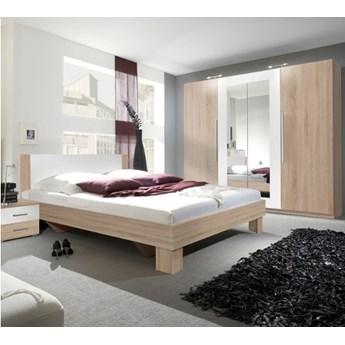Sypialnia VERA II : Powierzchnia spania łóżka - 180x200cm, Wybierz kolor - biały + sonoma