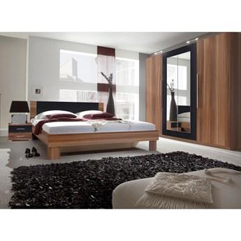 Sypialnia VERA II : Powierzchnia spania łóżka - 180x200cm, Wybierz kolor - czarny + czerwony orzech