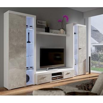 meblościanka VIOLA XL : Dodaj oświetlenie: - ---, Wybierz kolor - biały + beton jasny