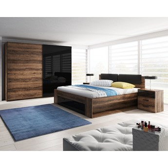 Sypialnia GALAXY dąb monastery + czarny : Powierzchnia spania łóżka - 160x200cm