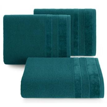 Ręcznik kąpielowy ciemno turkusowy 70x140 frotte 500g/m2 elegancki z welurową bordiurą, bardzo puszysty i miękki Linea