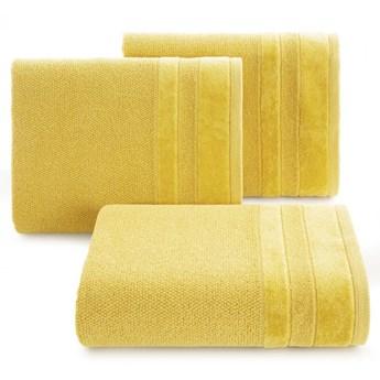 Ręcznik kąpielowy musztardowy 70x140 frotte 500g/m2 elegancki z welurową bordiurą, bardzo puszysty i miękki Linea