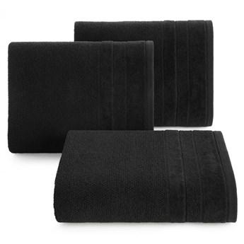 Ręcznik kąpielowy czarny 70x140 frotte 500g/m2 elegancki z welurową bordiurą, bardzo puszysty i miękki Linea