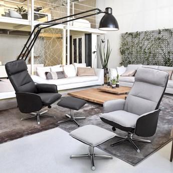 Fotel z podnóżkiem Cora 70x93 cm szaro - czarny