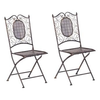 Zestaw 2 krzeseł ogrodowych czarny metalowy składany postarzany na balkon taras odporny na promieniowanie UV rdzę styl retro