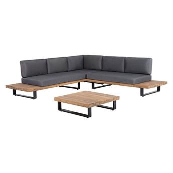 Zestaw mebli ogrodowych lite drewno akacjowe 5-osobowy szare poduchy modułowy narożnik stolik kawowy