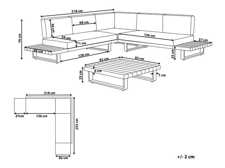 Zestaw mebli ogrodowych lite drewno akacjowe 5-osobowy szare poduchy modułowy narożnik stolik kawowy Zestawy modułowe Kategoria Zestawy mebli ogrodowych Zestawy wypoczynkowe Tworzywo sztuczne Aluminium Zestawy kawowe Zawartość zestawu Sofa