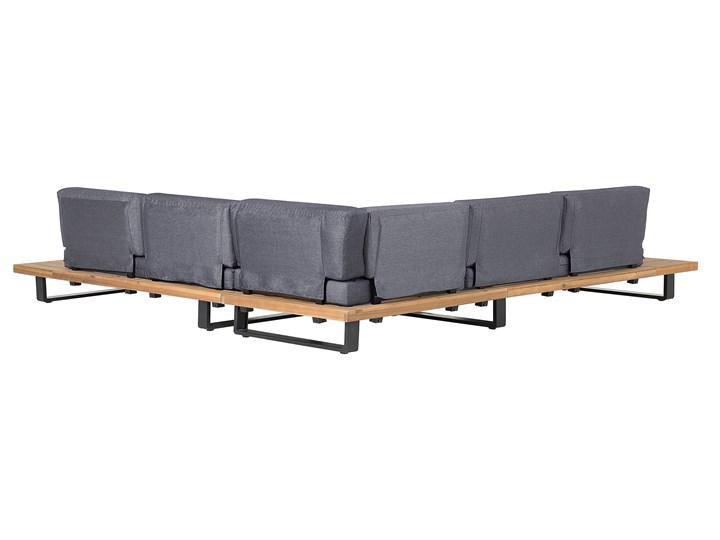 Zestaw mebli ogrodowych lite drewno akacjowe 5-osobowy szare poduchy modułowy narożnik stolik kawowy Aluminium Zestawy wypoczynkowe Zestawy modułowe Zestawy kawowe Styl Nowoczesny Tworzywo sztuczne Zawartość zestawu Sofa