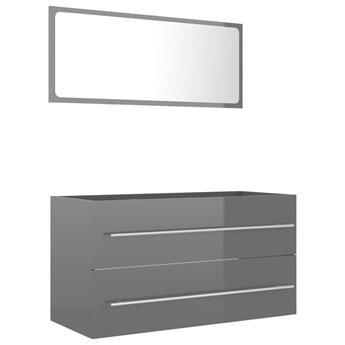 VidaXL 2-cz. zestaw mebli łazienkowych, szary, wysoki połysk, płyta