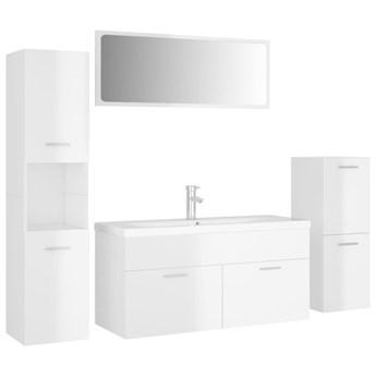 VidaXL Zestaw mebli łazienkowych, wysoki połysk, biały, płyta wiórowa