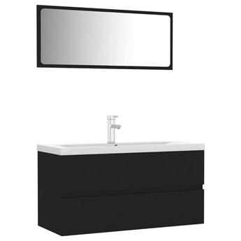 VidaXL Zestaw mebli łazienkowych, czarny, płyta wiórowa