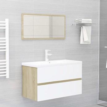 VidaXL Zestaw mebli łazienkowych, biel i dąb sonoma, płyta wiórowa