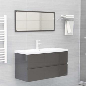 VidaXL Zestaw mebli łazienkowych, wysoki połysk, szary, płyta wiórowa