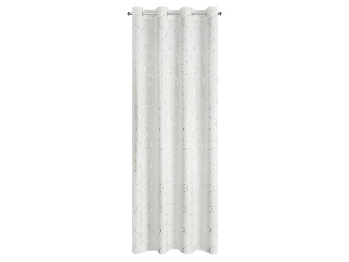 Zasłona gotowa welwet 140x250 Gisel biała ze srebrnym nadrukiem na przelotkach, kółkach Poliester 140x250 cm Kolor Biały