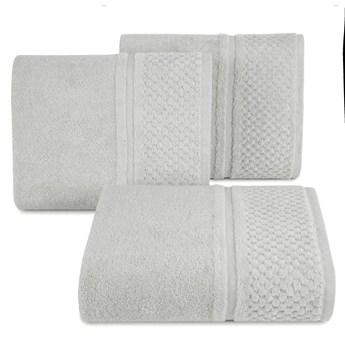 Ręcznik kąpielowy stalowy szary 70x140 frotte 550g/m2 elegancki z welurową bordiurą, Ibiza