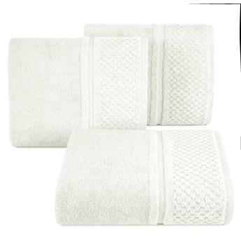 Ręcznik kąpielowy kremowy 50x90 frotte 550g/m2 elegancki z welurową bordiurą, Ibiza