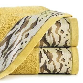 Ręcznik Eva Minge Cecil musztardowy w rozmiarze 70x140 z drukowaną bordiurą