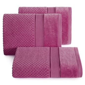 Ręcznik kąpielowy amarantowy 50x90 frotte 500g/m2 elegancki z welurową bordiurą, Jessi