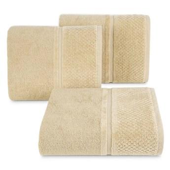 Ręcznik kąpielowy beżowy 70x140 frotte 550g/m2 elegancki z welurową bordiurą, Ibiza