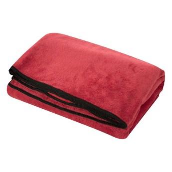 Ręcznik plażowy z mikrofibry czerwony z czarną lamówką szybkoschnący rozmiar 80x160 idealny na plażę, basen, siłownię