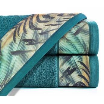 Ręcznik Eva Minge Collin turkusowy w rozmiarze 50x90 z drukowaną bordiurą