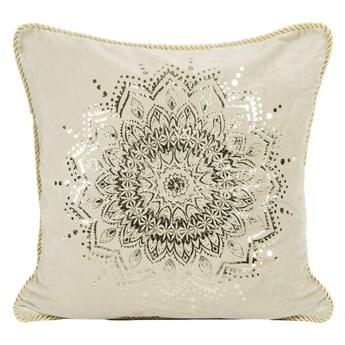 Poszewka na poduszkę beżowa zdobiona błyszczącym nadrukiem w rozmiarze 45x45 z miękkiej tkaniny velvet