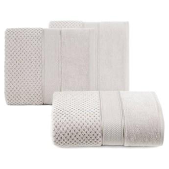 Ręcznik kąpielowy beżowy 50x90 frotte 500g/m2 elegancki z welurową bordiurą, Jessi