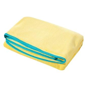 Ręcznik plażowy z mikrofibry żółty z niebieską lamówką szybkoschnący rozmiar 80x160 idealny na plażę, basen, siłownię