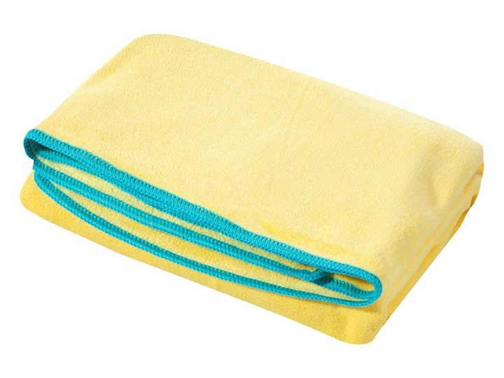 Ręcznik plażowy z mikrofibry żółty z niebieską lamówką szybkoschnący rozmiar 80x160 idealny na plażę, basen, siłownię Kolor Ręcznik kąpielowy 80x160 cm Ręcznik z kapturkiem Kategoria Ręczniki